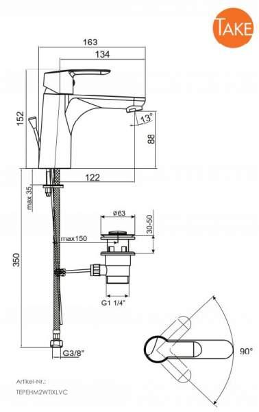 TAKE pro XL Waschtisch-Einhebelmischer mit Ablaufgarnitur