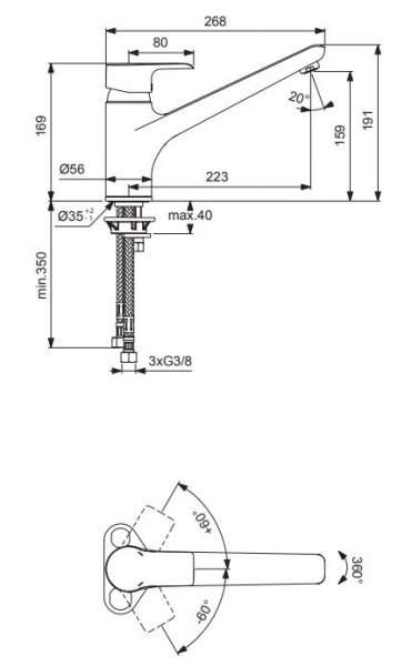 TAKE 3000 Spültisch-Einhebelmischer für Niederdruck