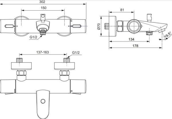 TAKE 2000 Wannen-Thermostat Aufputz